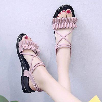 配裙子的仙女风凉鞋女2019新款女鞋时尚坡跟沙滩鞋学生百搭罗马鞋