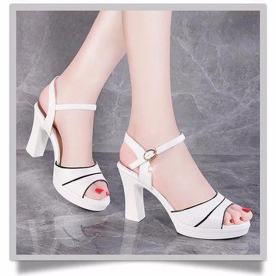 鱼嘴凉鞋19夏季新款一字扣女鞋露趾时尚韩版高跟优雅女鞋百搭粗跟