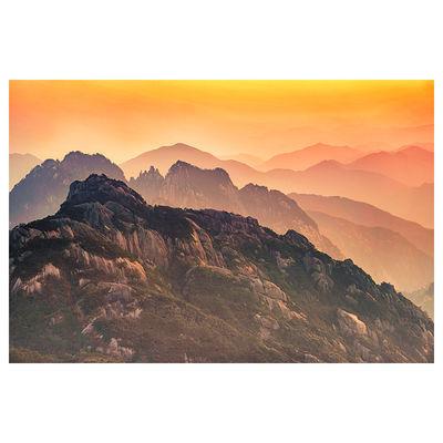黄山自然风景装饰画 高山壁画 山水画 日出 山石 墙贴画 海报挂画