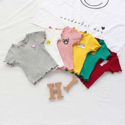 夏季1女童短袖T恤衫2男童宝宝体恤3岁婴儿半袖汗衫小童装上衣70棉