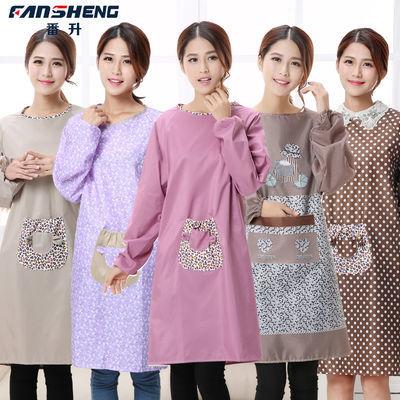 厨房长袖围裙防水防油成人罩衣男女款反穿有袖韩版护时尚带袖家用