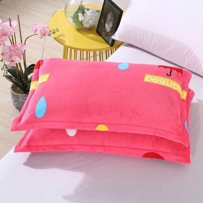 十字绣枕套加绒枕套家纺棉枕头枕套枕套棉儿童枕套两松鼠法兰绒枕