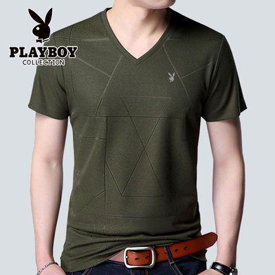 【花花公子VIP】男士夏季纯色V领短袖纯色T恤薄款圆领半袖打底衫