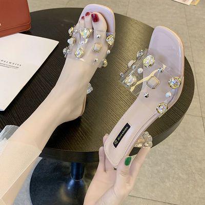 网红凉拖鞋女夏外穿2020新款彩色水钻细跟高跟鞋一字带露趾半拖鞋