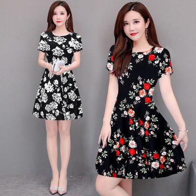 妈妈装夏装新款短袖连衣裙中老年女装夏季宽松显瘦大码时尚裙子女