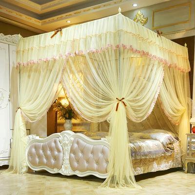 蚊帐三开门加粗支架1.5米1.8床加密落地宫廷公主纹帐1.0m双人家用