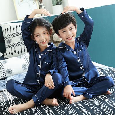 儿童仿真丝睡衣男薄款女童冰丝家居服翻领长袖丝绸套装宝宝空调服