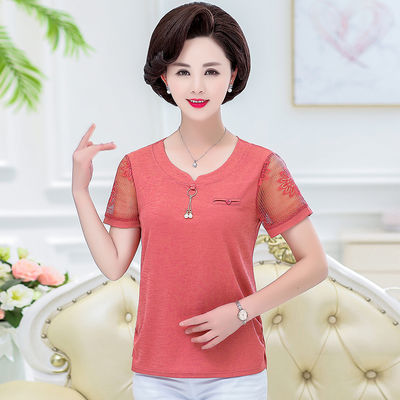 2019夏装新款中年妈妈装短袖T恤时尚30-40年轻妈妈上衣修身显瘦女