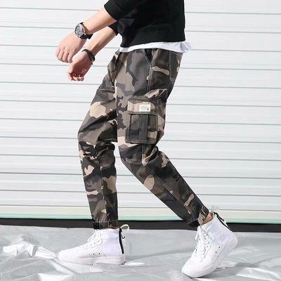 潮牌2018余文乐迷彩裤布裤休闲裤男束脚裤工装裤大码小脚裤