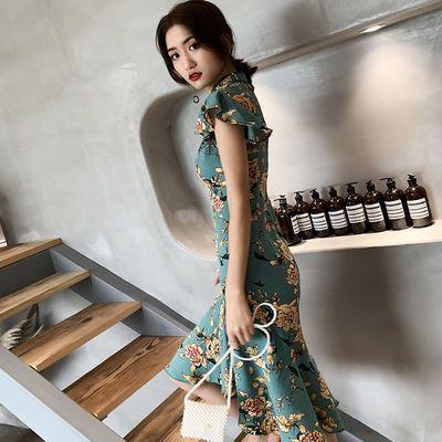 改良版复古旗袍年轻款少女日常时尚鱼尾现代中国风连衣裙甜美短款