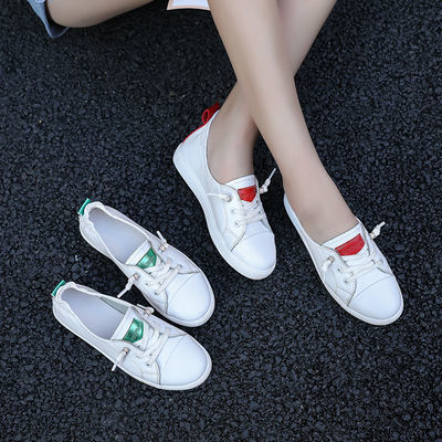 小白鞋女学生真皮韩版百搭平底单鞋懒人一脚蹬透气休闲女鞋板鞋