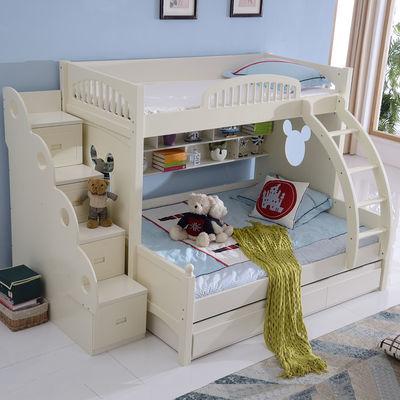 上下铺床双层床成人现代简约儿童多功能高低实木子母床女孩