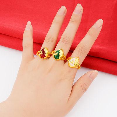 镀金戒指女 经典沙金孔雀戒指开口可调节戒子指环饰品首饰