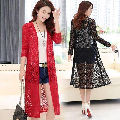 防晒衣女蕾丝披肩外套薄款中长款韩版夏季女大码款式长袖开衫外搭