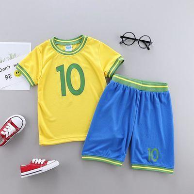 男童夏季套装世界杯球衣德国阿根廷巴西足球服梅西c罗球衣训练服