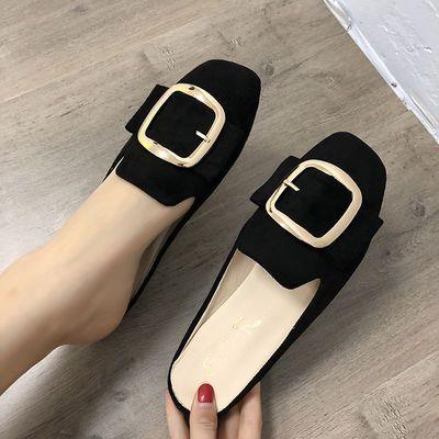 新款包头半拖鞋女韩版简约方头无后跟平底外穿凉拖鞋2020春季半拖