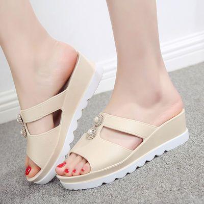 新款拖鞋女夏季外穿韩版时尚厚底增高跟坡高跟防滑社会女士凉拖鞋