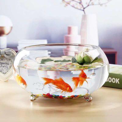 包邮加厚鼓形三爪金鱼缸 小号圆形带底座玻璃缸 生态造景乌龟缸