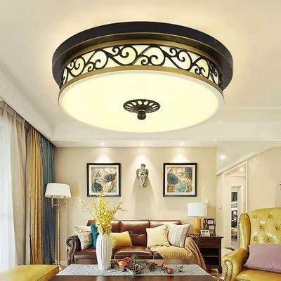 美式客厅复古圆形亮吸顶灯温馨卧室房间灯简约创意儿童房铁艺灯具