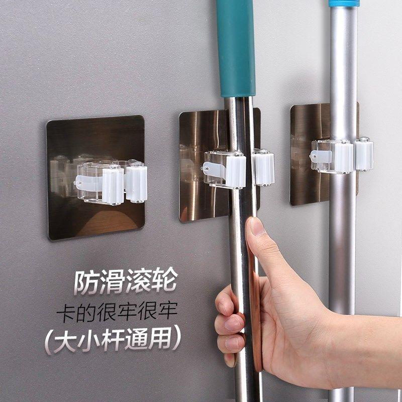 挂钩粘钩强力透明拉丝免钉打孔挂钩拖把夹夹子挂壁扫把浴室卫生间