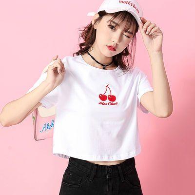 高腰短款T恤女短袖宽松露脐上衣学生肚脐衣服半截袖白色超短纯棉