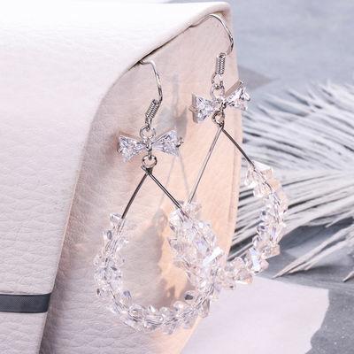 领结水晶耳环女气质韩国个性感耳钉纯银简约百搭网红长款时尚耳坠