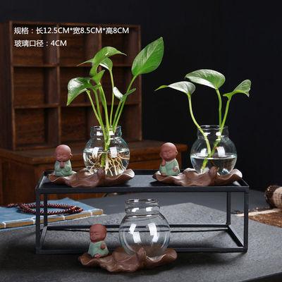创意玻璃摆件迷你水培桌面小花器客厅茶几禅意小和尚花瓶陶瓷容器