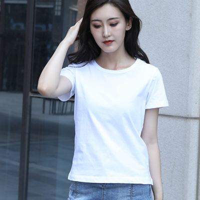 100棉高品质2019新款短袖T恤女纯棉宽松修身韩版白色夏装潮大码学