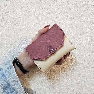 ins新款韩版方小钱包女短款折叠简约时尚女士卡包迷你零钱包三折