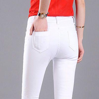 加绒加厚新款韩版修身弹力铅笔黑色白色牛仔裤女装长裤子小脚裤潮
