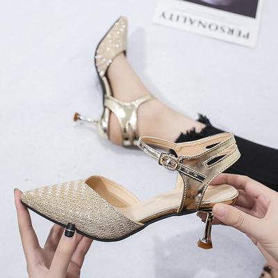 尖头一字扣带高跟鞋女凉鞋2020新款韩版百搭中空鞋包跟细跟凉鞋女