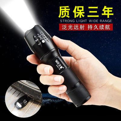 led手电筒强光可充电家用超亮远射特种兵变焦多功能迷你学生可爱