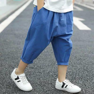 男童裤子七分裤薄款2020新款儿童夏装中大童短裤洋气男孩短裤棉麻