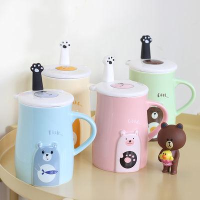 小熊韩版卡通水杯陶瓷马克杯咖啡杯家用杯子情侣陶瓷杯子节日礼品