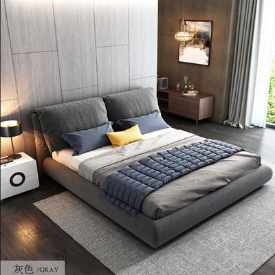 北欧布艺床可拆洗双人软包轻奢主卧小户型榻榻米1.8m现代简约婚床