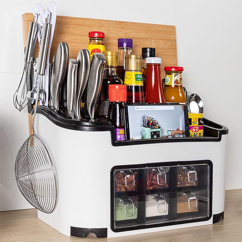 厨房用品置物架调料盒家用套装组合调味品瓶罐刀筷子收纳盒多功能