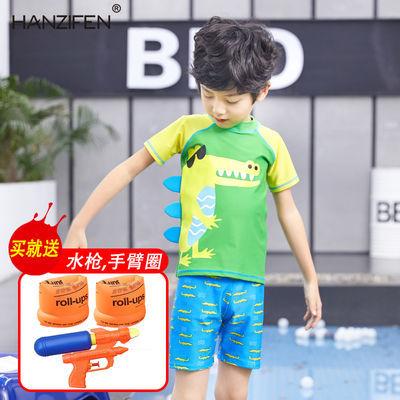 儿童泳衣男童泳裤分体套装中大童男孩泳装宝宝小童卡通鲨鱼游泳衣