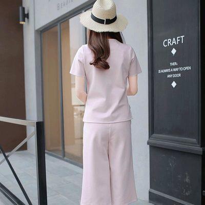 2019新款女装夏季短袖t恤两件套韩版衣服时尚套装阔腿裤女