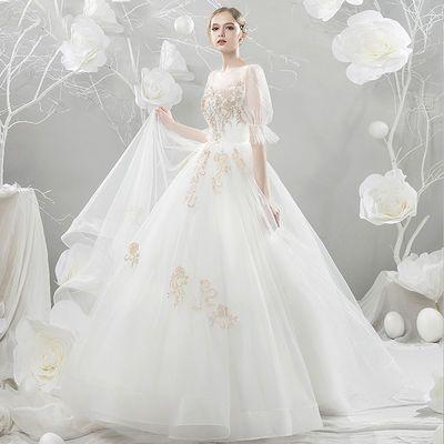 66484/婚纱礼服2021新款春季拖尾韩版公主梦幻显瘦森系旅拍新娘婚纱简约
