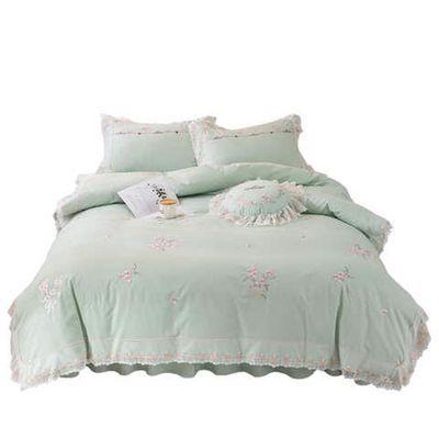网红四件套全棉纯棉小清新床裙款床上用品公主风蕾丝花边床单被