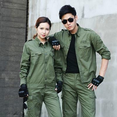 夏季薄款纯棉工作服套装男女长袖短袖军绿色迷彩服军装制服劳保服