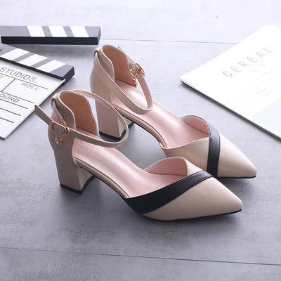 A拼色包头高跟鞋2019新款百搭中跟单鞋女粗跟尖头鞋韩版中空凉鞋