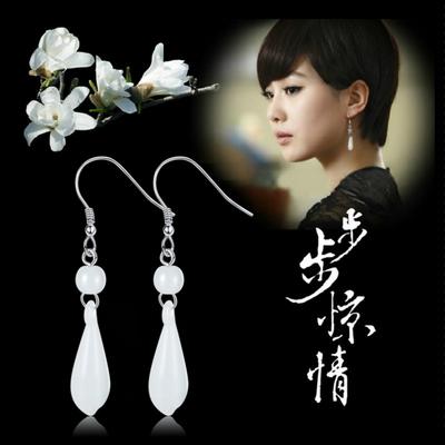 步步惊情刘诗诗同款 木兰花耳环银耳饰 中长款耳环女耳坠