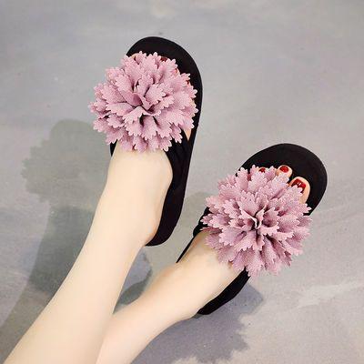 花朵拖鞋女外穿坡跟韩版厚底人字拖鞋百搭甜美沙滩鞋简约凉拖防滑