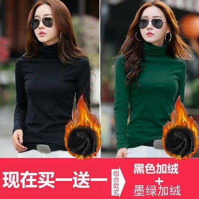 【买一送一】秋冬加绒高领长袖t恤女保暖黑色体恤大码女装打底衫
