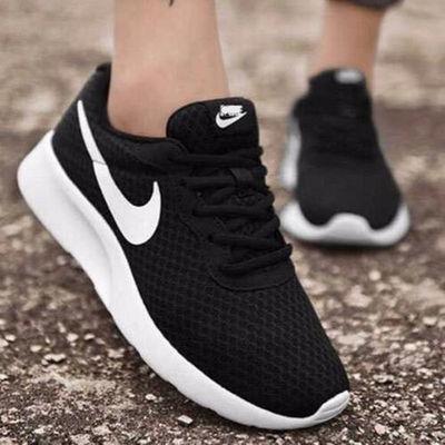 夏季运动鞋学生透气跑步鞋情侣款鞋子一男一女休闲鞋黑色轻便软底
