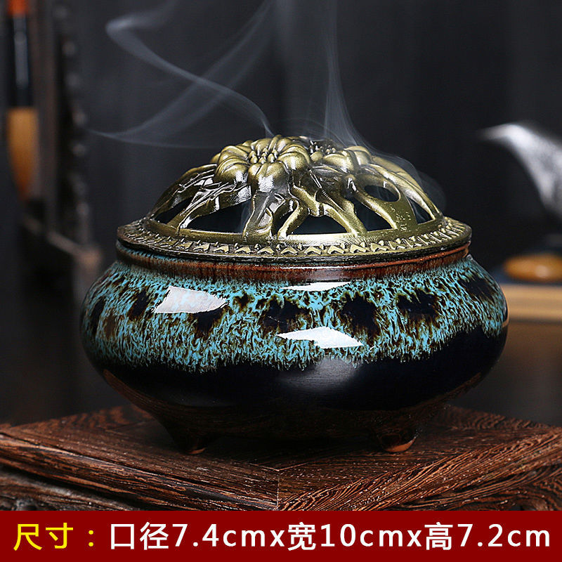 北雅创意哥窑檀香炉盘香倒流香炉家用室内陶瓷青瓷冰裂香炉仿古炉