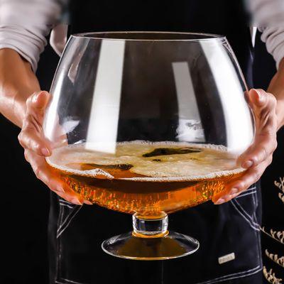 特大号啤酒杯巨大超大巨型酒杯大号红酒杯高脚杯大容量玻璃英雄杯