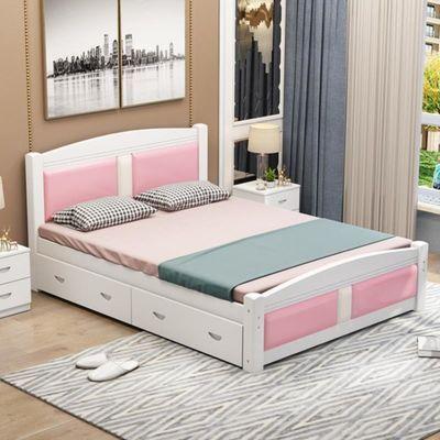 小户型双人床单人床箱式储物休息家私1.2米实木储物床家具儿童房