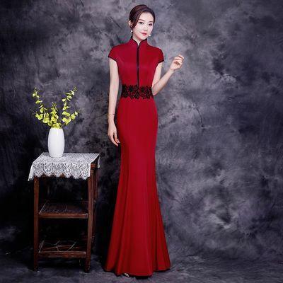2020新款酒红色宴会晚礼服鱼尾模特团队走秀团队演出服显瘦日常穿